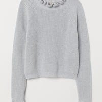 Knit Sweater with Ruffle Trim - Light gray - | H&M US