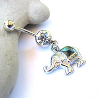 Circus Elephant Belly Button Jewelry, Abalone Cute Belly Rings