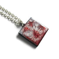 Red and Silver painted tile pendant necklace, modern abstract design