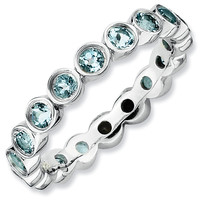 Stackable Expressions™ Bezel-Set Large Aquamarine Eternity Style Ring in Sterling Silver