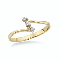Holy Trinity Promised Love 10KT Linear 3-Diamond Promise Ring .05 Ct. TW