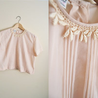 Pink Crop - Vintage Light Pink cropped Pleated Lace Boxy Top DEADSTOCK