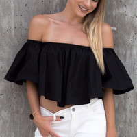 Posie Off The Shoulder Ruffle Crop Top - Black