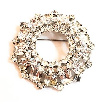 Domed Rhinestone cluster brooch round vintage pin wedding formal clear mid century