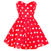 WowDresses — Red Polka Dot Party Dress