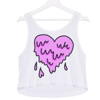 Pink Melted Dripping Heart Graphic Tee Crop Top