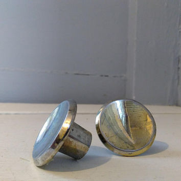 Vintage, Knobs, Two, Furniture Hardware, Drawer Pulls, Cabinet Knobs, Round, Indent Center, Metal, Brass Color, RhymeswithDaughter