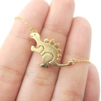 Stegosaurus Dinosaur Shaped Jurassic World Themed Pendant Necklace in Gold