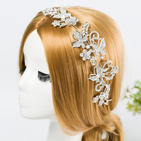 CZ Diamond Tiaras And Crowns Bridal Hair Ornaments For Weddings Crystals Pearls Hair Accessories Forehead Jewelry Women Diadem