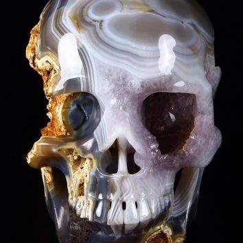 """GIANT 7.4"""" Geode Agate Carved Crystal Skull, Super Realistic"""