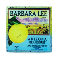 Barbara Lee (2) Brand - Vintage Citrus Crate Label - Handmade Recycled Tile Coaster