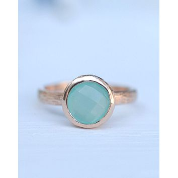 Leticia Ring * Aqua Chalcedony * Rose Gold * BJR210