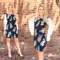 Signs of Spring Dress in Navy