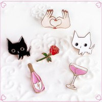 Kitty, Wine, Rose, Heart Hands Pins
