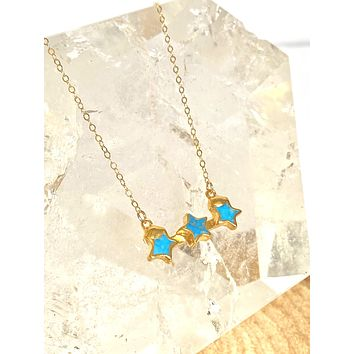 Triple turquoise star necklace