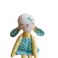 Stuffed lamb flower yelow checkered blue plush sheep doll stuffed toy holiday gift for children
