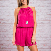 Living It Up Romper, Magenta