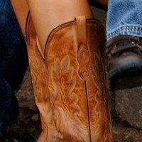 Old West Distressed Leather Cowgirl Boots - Snip Toe - Sheplers