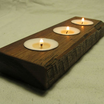 Reclaimed wooden candle holder, tea light candle holder, home decor