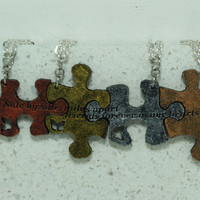 Puzzle Pieces necklaces Set of 4 friendship necklaces with Quote Metallic Multi Color S25