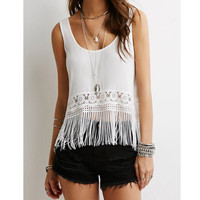 Stylish Scoop Collar Sleeveless Hollow Out Fringe Design Women'S Tank Top LAVELIQ