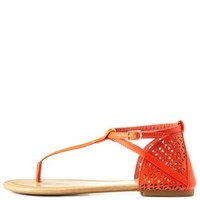 Tangerine Laser Cut-Out Thong Sandals by Charlotte Russe