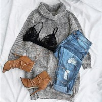 Cupshe Sheen Look Turtle Neck Long Sweater