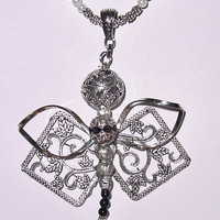 Wedding Bouquet Memorial Photo Charm Dragonfly Gems Pearls Filigree Antiqued Silver Tibetan Beads - FREE SHIPPING