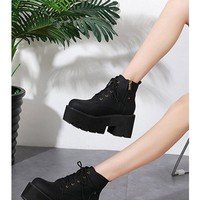 Black Pu Lace Up Platform Chunky Heel Ankle Booties