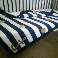 25% off! Large baby, Navy white gold nautical strip patchwork blanket - girl nautical minky blanket - toddler baby ruffled blanket - flawed