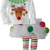 Mud Pie Baby Girls' Reindeer Pom Pom Tutu Set