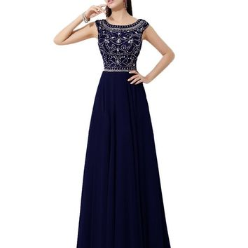Diyouth Floor Length Bridesmaid Dress Cap Sleeves Beaded Prom Evening Gown Navy Size 12