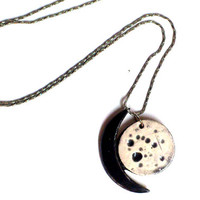 Moon phases ceramic necklace, New moon handmade Jewelry. Twilight Ceramic Charms.Everyday Necklace