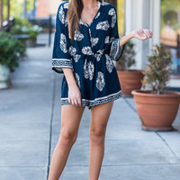 Feeling It Romper, Navy
