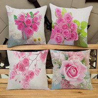 Free Shipping Custom 2016 New Pink Rose Floral Printing Short Soft Plush Throw Pillow Home Decor Bedside Backrest Cushion