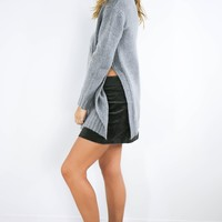 Cross Your Heart Gray Long Sleeve Knit Sweater With High Side Slits