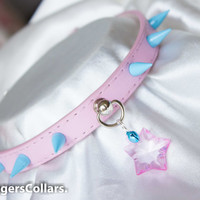 Pink with Blue Spike Submissive Collar with mini cat bell, optional leash and cuffs ,pet play, D/s,Halsband,kitten collar BDSM SLAVE COLLAR