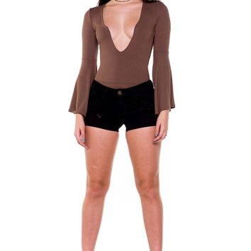(akx) Bell long sleeves plunging bodysuit -Olive-