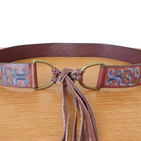 Bohemian leather tie belt with denim blue embroidery and fringe, tie at waist or sling low on hips, size M/L