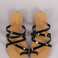 Qupid Patent Strappy Toe Ring Slide Sandal