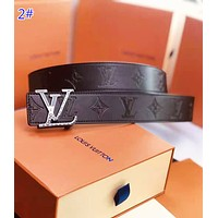 LV Louis Vuitton Fashion New Letter Buckle Monogram Leather Women Men Leisure Belt 2#