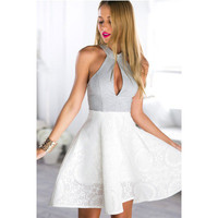 2016 Trending Fashion Floral Printed White Slim Fit Halter Neck Sleeveless One Piece Dress _ 3005
