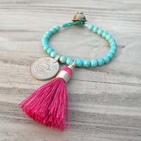 Gypsy Mala Bracelet -  Turquoise Stone with Pink Tassel, Tribal Gypsy, Colorful