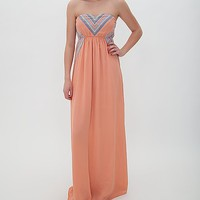 West 36th Embroidered Tube Top Maxi Dress