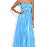 Glitter Strapless Dress with Twist Front and Mesh Illusion Cutouts
