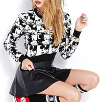 Many Mickey Faces Cropped Sweater