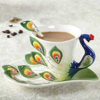 Peacock Coffee Cup Ceramic