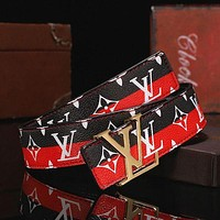 Louis Vuitton LV fashion men's and women's stitching color belt, trendy all-match belt