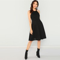 Going Out Black Modern Lady Fit Flare Solid Halter Knee Length Sleeveless Dress Women Plain Party Dress