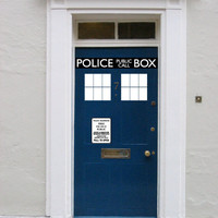 Police Box door decal vinyl sticker Its bigger on the inside